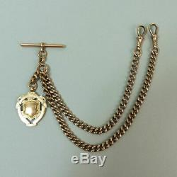 George V Antique 9 Ct Gold Double Clip Pocket Watch Albert Chain & Fob 53.4 G