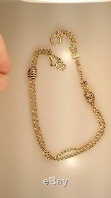 Georgian 14K Yellow Gold Watch Chain Double Chain with Enameled Slides 17.9 g