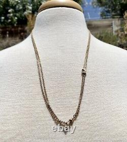 Gold Fill Crescent Moon pocket Watch Chain with Pearls. 48 Guard Chain Necklace