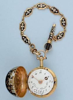 Gold and Enamel Verge Ball Watch and Chain