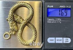 Gold fill Pocket Watch Chain, Bracelet. Figural Animal Heads. Antique Jewelry