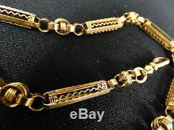 Gorgeous Intricate 14K Gold Watch Pocket Chain, 25.5 dwt, 15 1/4 Long