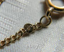 H795 Vintage 14k Yellow Gold Pocket Watch Curb Chain