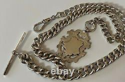 HEAVY LARGE Antique Solid silver Albert Pocket watch chain 49.6 GRAMS