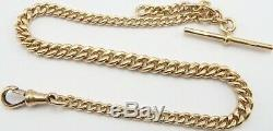 Heavy 12.25 inch Antique 9ct rose gold pocket watch albert guard chain 29.2grams
