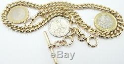 Heavy 17 inch Antique 9ct yellow gold pocket watch albert guard chain 62.8 grams