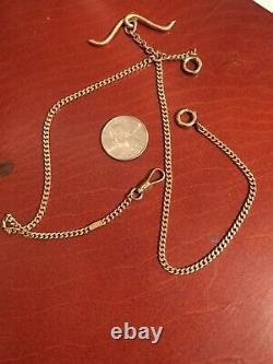 Heavy Antique 1913 NH 14K SOLID Gold Pocket Watch Chain Over 26 Grams