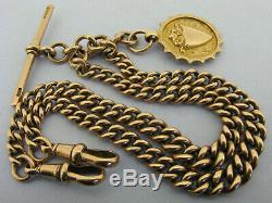 Heavy Antique Solid 9ct Rose Gold Double Albert Watch Chain T-Bar & Fob Bir 1919