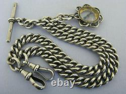 Heavy Antique Solid Silver Double Albert Watch Chain & Compass Fob Bir 1916
