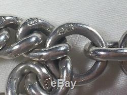 Heavy Antique Victorian 1900 Silver Albert Pocket Watch Chain & Fob Medal