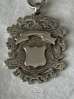 Heavy Victorian Silver Large Curb Link Albert Pocket Watch Chain & Fob Medal