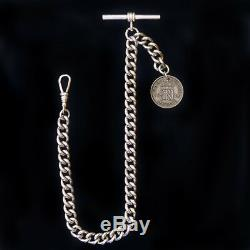 Heavy Weight Lucky Sixpence Solid Hallmarked 925 Silver Albert Chain