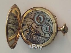 Illinois 14kt Gold 21 Jewels A. Lincoln Pocket Watch & Simmons Chain -works