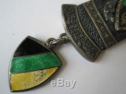 IMPORTANT ANTIQUE HEAVY SILVER W ENAMEL POCKET WATCH FOB FOR ALBERT CHAIN 67g