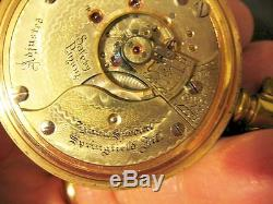 Illinois Pocket Watch 21 Jewel 12K Gold Filled Case Chain Plate 18 Lever set