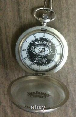 Jack Daniels Old No. 7 Silver Pocket Watch, Chain And Leather Pouch, New Item