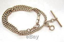 LQQK British 9K Yellow Gold Curb-link Chain for Pocket Watch Antique vntg heavy