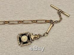 Late 1800s Large Elongated Link Antique Pocket Watch Chain & Original Fancy Fob