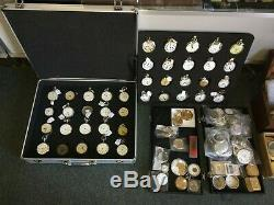 Lot of 100 Pocket Watches, includes chains, FOB's, staking tools, parts