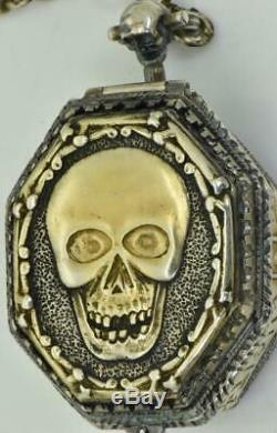MUSEUM Silver Memento Mori Skull Elongated Octagonal Verge Fusee watch&chain fob