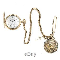 Men's Vintage 1930s Elgin Pocket Watch 14K Gold with Chain & Fobs 80496