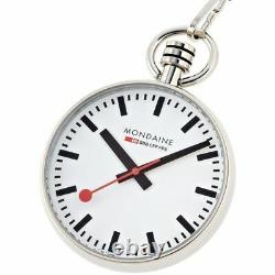 Mondaine A660.30316.11SBB 43mm Stainless Steel White Dial withChain Pocket Watch