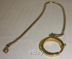 NICE VINTAGE 10k GOLD RING SPRING CLASP CHAIN FOB FOR POCKET WATCH