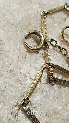 Nice! Vtg 14K Yellow Gold Ornate Pocket Watch Fob Accessory 11 Chain 6.36g