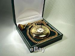 ONE OF A KIND ROLEX MICRO-REGULATOR SOLID GOLD POCKET WATCH 9ct CHAIN 1915 UK9K