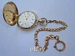 ORIGINAL ANTIQUE OLD POCKET WATCH U. S. A. 9K SOLID GOLD Watch 3 Covers RARE CHAIN
