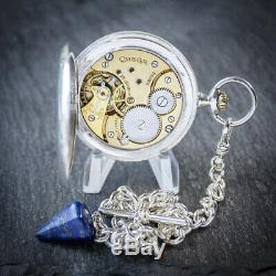 Omega Silver Full Hunter Pocket Watch with Chain and Box