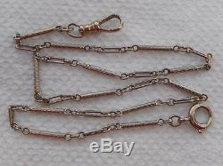 Ornate 14k WHITE Gold Bar Link Pocket Watch CHAIN Antique 14 Long Mint DECO
