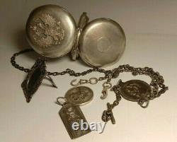 Paul Moser 84 Silver Pocket Watch & Chain Imperial Russia