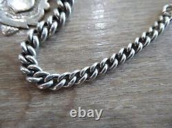 Quality Antique Solid Sterling Silver Double Albert Pocket Watch Chain With Fob