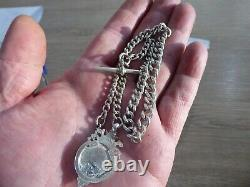 Quality Antique Solid Sterling Silver Single Albert Pocket Watch Chain With Fob