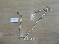 Quality Antique Sterling Silver Single Albert Pocket Watch Chain & Fob