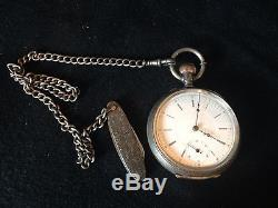 R Schmid Pocket Watch Chain & Knife Silver Armor Knight On Case & Movt. Rare RS