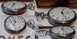 Rare Excellent Swiss Pocket Watch Omega Solid Silver Gold Nielo Box And Chain