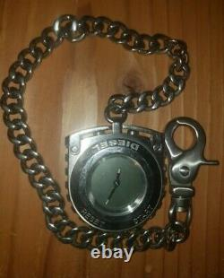 Rare DIESEL Only The Brave Pocket Chain Link Stop Watch