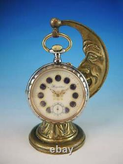 Rare Man in the Moon pocket watch with stand and chain c1900
