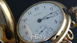 Rare1908Antique gold filled 18Size Hunter Case waltham pocket watch&Chain Fob