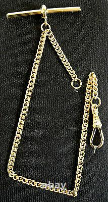 Rolled Gold Albert Chain Solid Pocket Watch Single Close Curb Made in UK- FA42
