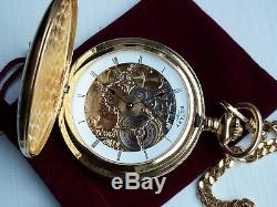 Rotary double Hunter skeleton mechanical pocket watch with Albert chain 64-4