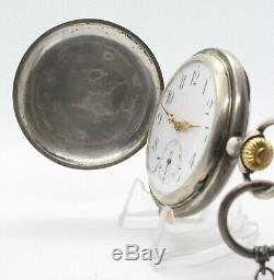 Royal Bulgarian Dietrich & Cie Silver Quarter Repeater Pocket Watch with Chain