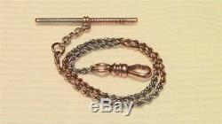 SOLID ROSE WHITE 14K GOLD GENT`S POCKET WATCH CHAIN FOB ANTIQUE VICTORIAN 12.7g