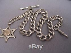 STERLING SILVER ALBERT POCKET WATCH CHAIN & FOB 30 cm = 11.81 inches 84.7 GRAMS