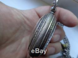 Sterling Silver Pocket Watch With Chain And Fobs. One Of Kind! Amazing