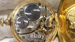 Small 14k Yellow Solid Gold Waltham Pocket Watch 10K Gold Chain 29mm 655507