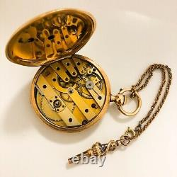 Solid 18k Gold Bautte Pocket Watch With Key and Chain