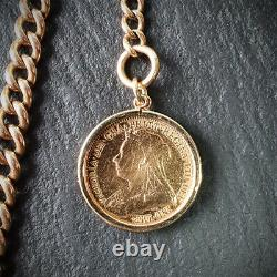 Solid 9ct Gold Single Albert Chain with 22ct Gold Sovereign Fob 40.5 Grams